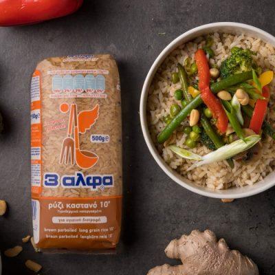Ρύζι καστανό με stir-fry λαχανικών