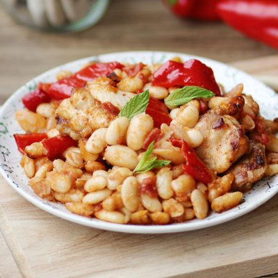 Φασόλια Πλακέ Πρεσπών Φλώρινας ΠΓΕ με κοτόπουλο και πιπεριές Φλωρίνης
